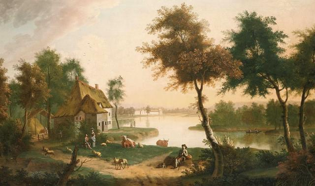 George Smith. River landscape with a drover in the foreground