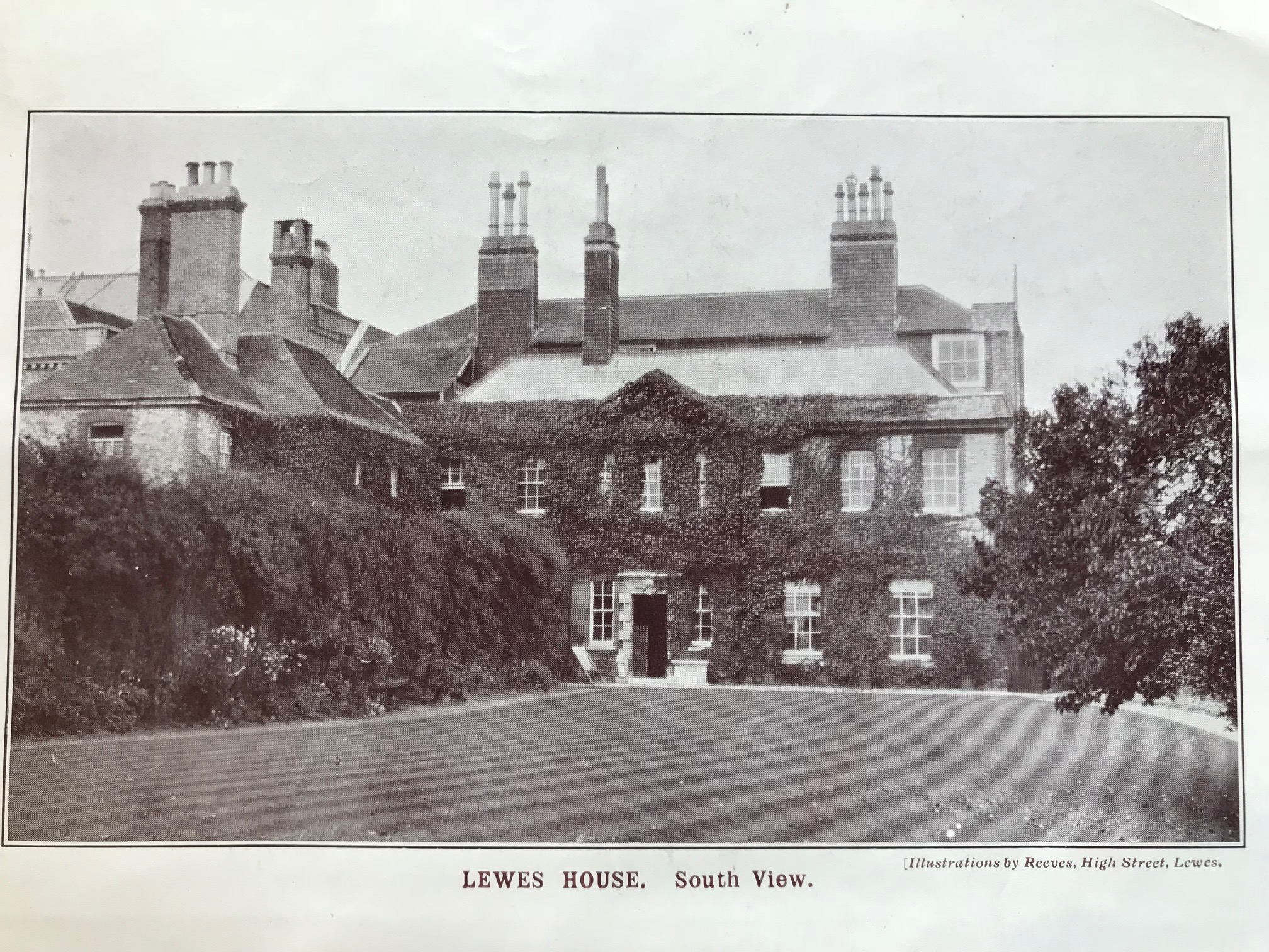 Lewes House from the gardens in the 1920s
