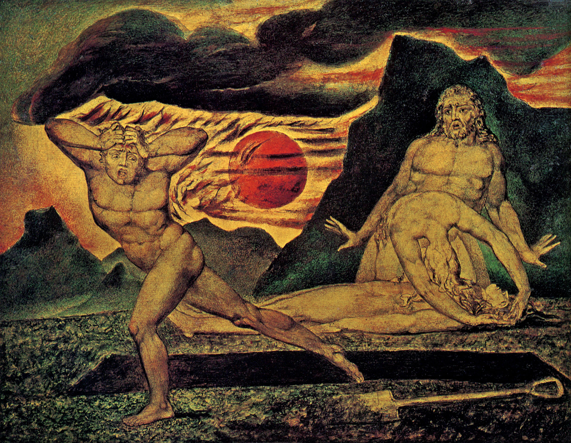 William Blake. The Body of Abel Found by Adam and Eve, c. 1825. Watercolour on wood.