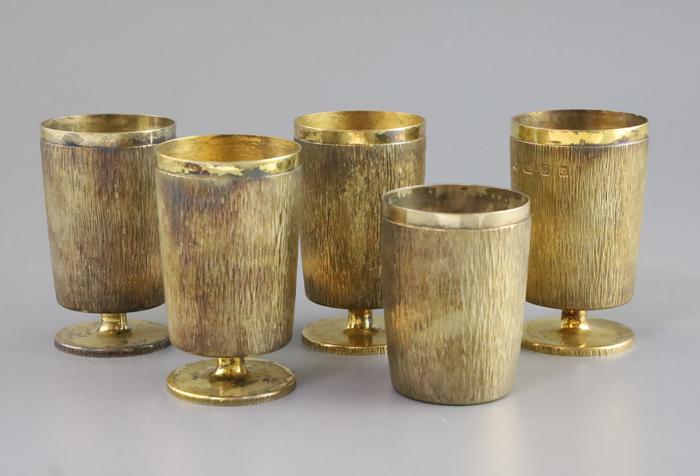Adrian Benney Set of Four Bark Effect Silver Gilt Goblets