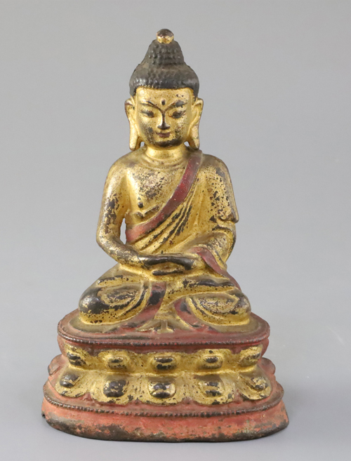 Chinese gilt and polychrome bronze seated figure of Buddha