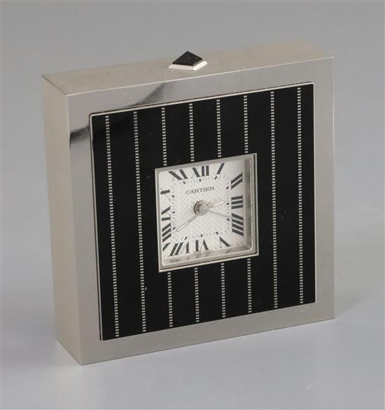 Cartier Black Enamel and Steel Cased Timepiece