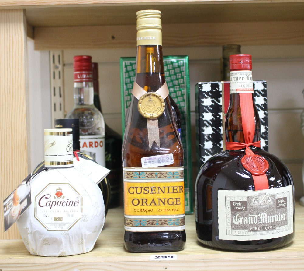 Bottles in a collection of assorted spirits and liqueurs