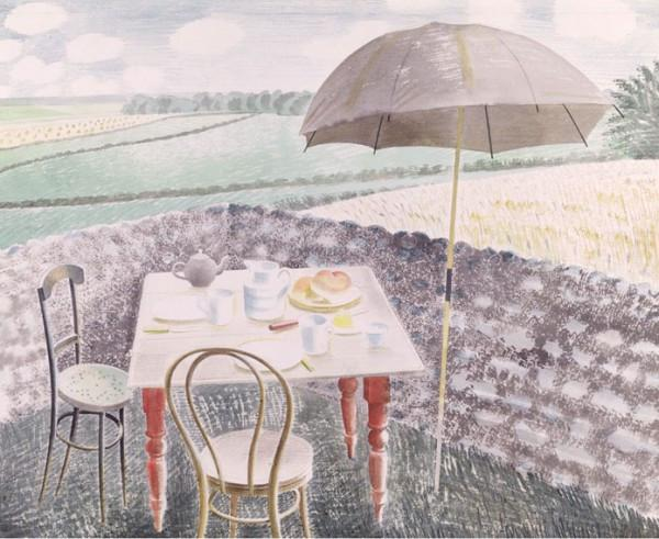 Now at the Fry Art Gallery (accession no. 856). 350 x 430 mm; print reproduction. Furlongs was a cottage on the South Downs, near Glynde and Lewes, which was occupied by Ravilious' friend Peggy Angus.