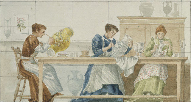 Image of Florence and Hannah Barlow working at Royal Doulton's factories