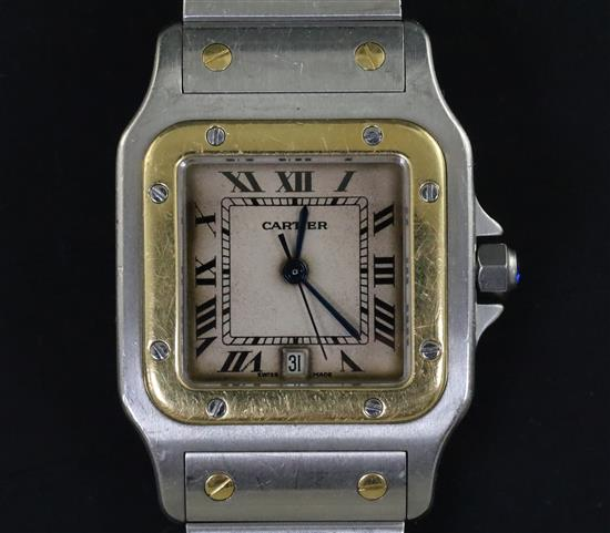 Gentleman's 1990s Stainless Steel Gold Cartier Santos Quartz Wristwatch
