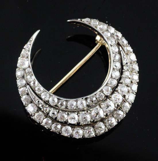 Gold and Silver Triple Row Diamond Set Crescent Pendant Brooch