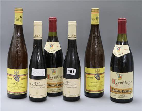 Two Hermitage 1983 bottles of wine and sweet wines