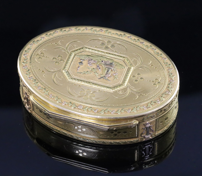 Late 18th Century Swiss Three Colour Gold Oval Snuff Box