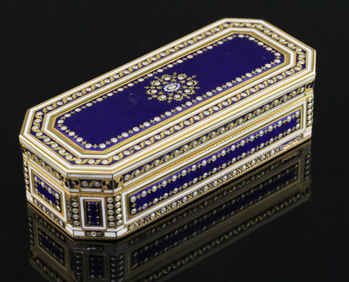 Late 18th Century White and Blue Enamel Snuff Box