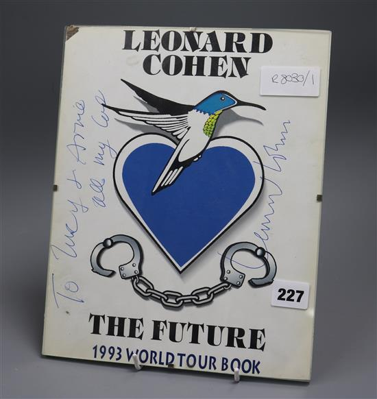 Autographed Leonard Cohen poster or record sleeve