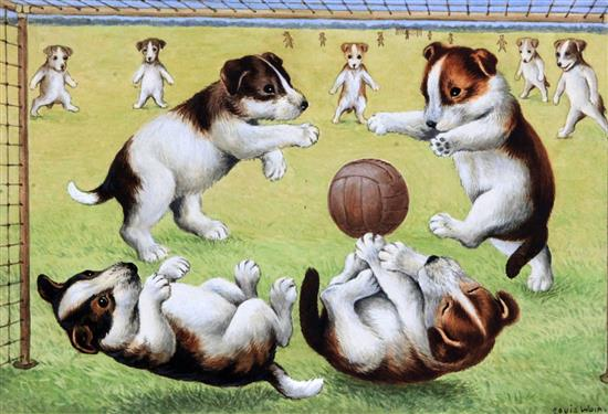 Louis Wain artwork of Terrier puppies playing football