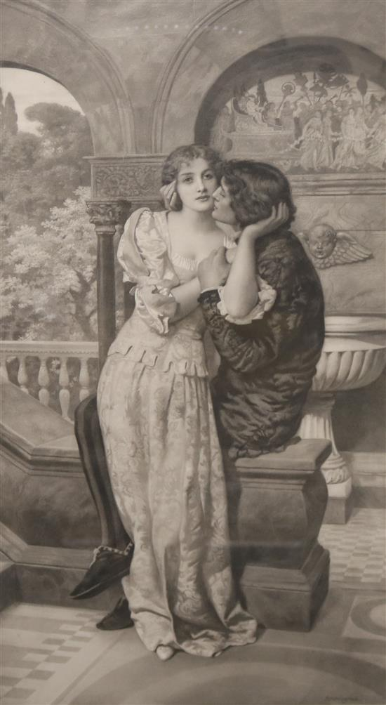 Mezzotint Depicting Lovers On A Balcony