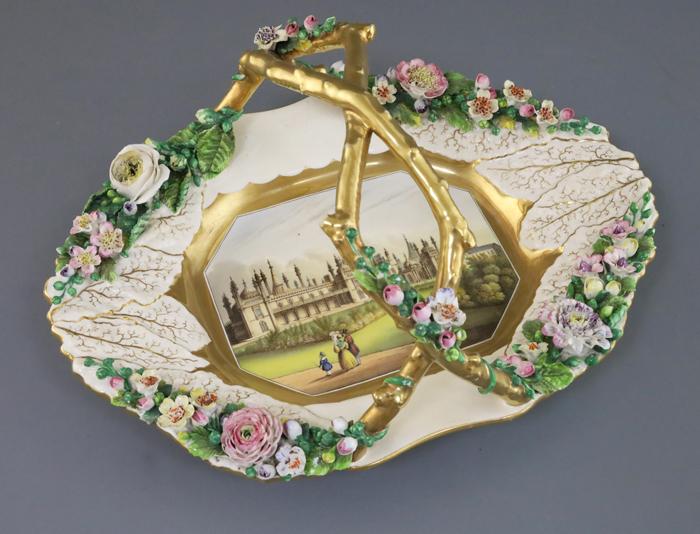 Large Rockingham porcelain basket, c.1830-42