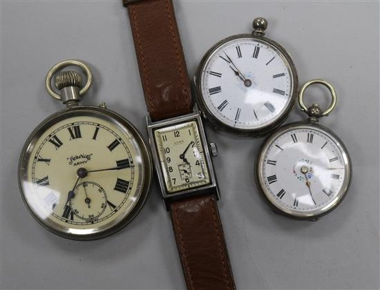 Steel Cyma wristwatch and other timepieces
