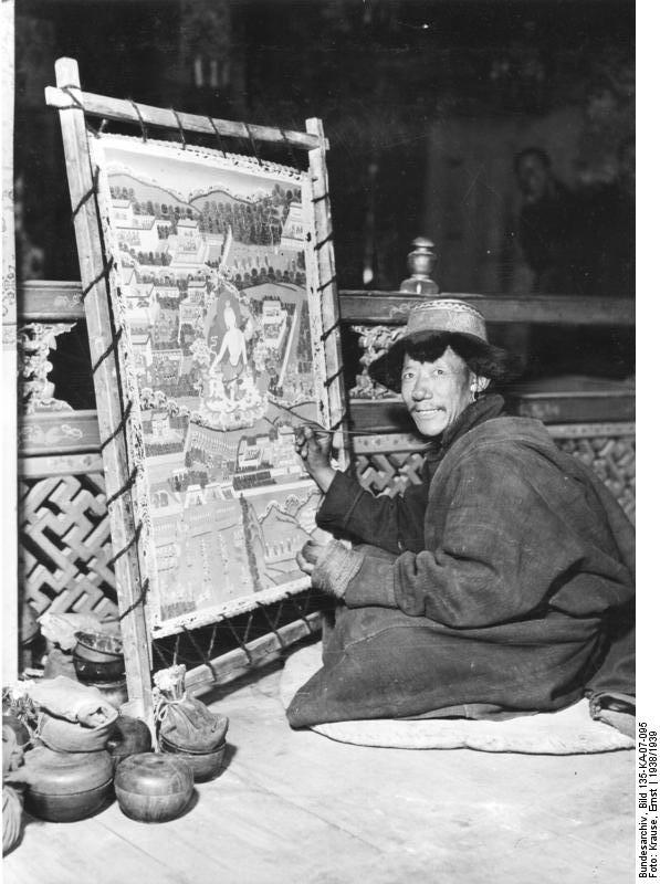 Thangka being painted in 1938