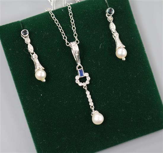 White Gold Sapphire Diamond And Cultured Pearl Jewellery