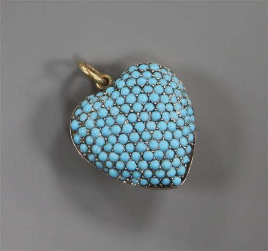 Yellow Metal Pave Set Turquoise Pendant